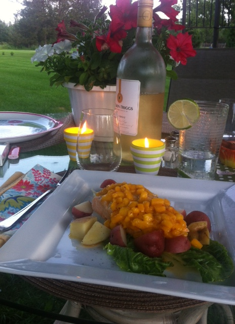Grilled Salmon w/ Mango Salsa